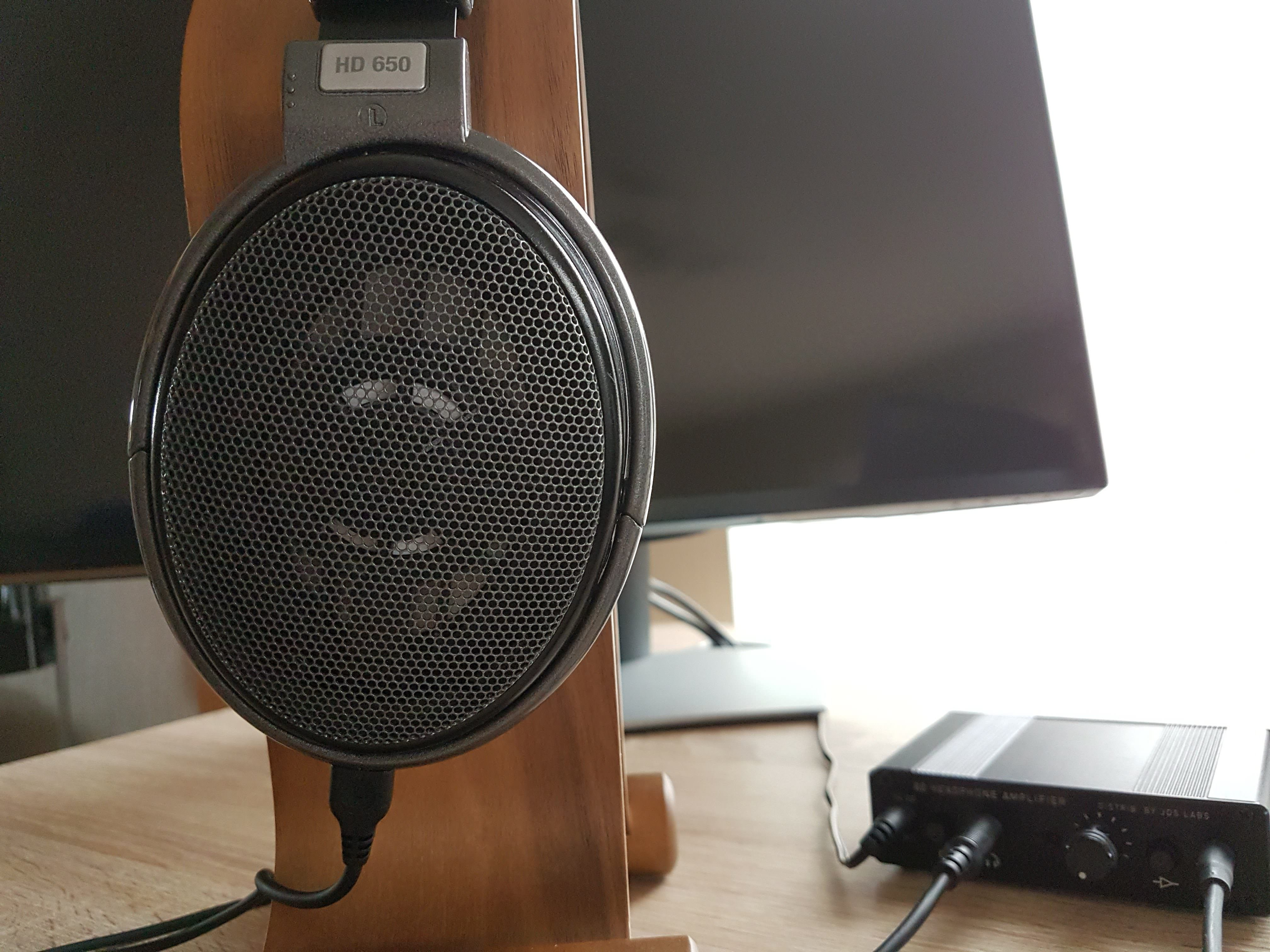 HD650 placed on a headphone stand