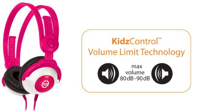 The Kidz Gear Wired Headphones have a Volume Limiter cable which keeps them from getting too loud
